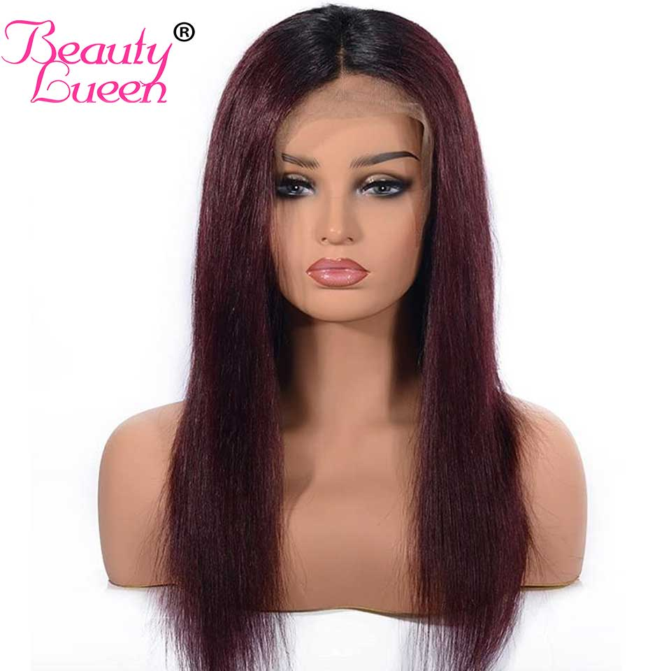 Lace Front Human Hair Wigs Ombre Straight Black Burgundy Brazilian Bob Wigs With Pre Plucked Hairline