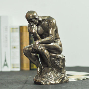 Scaled The Thinker Sculpture Handmade Copper and Resin French Rodin's Statue  2