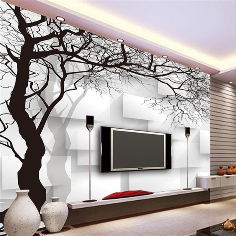 Custom wallpaper wall murals hand painted black and white for Black and white tree wallpaper mural