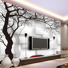 Custom wallpaper wall murals hand painted black and white 3d abstract tree box TV sofa background Beibehang