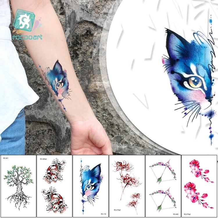 Rocooart Cute Cats Tattoo Tree Flower Temporary Tattoo Stickers Adult Hand Taty For Women Fake Tattoo Men Tatuajes New Tatuagem