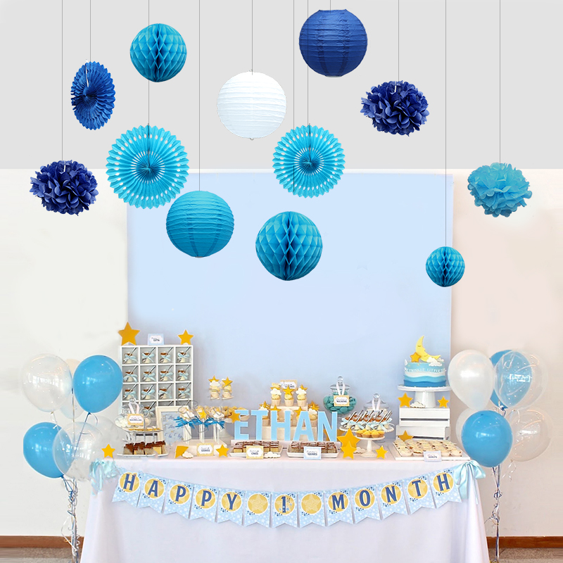 12pcs Happy Birthday Party Decorations Kids Boy Sea Themed party decorations Blue White Paper Fans/Pom poms/Lanterns/Honeycombs ...