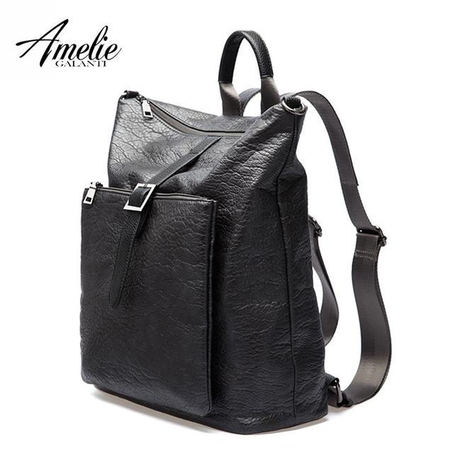 AMELIE GALANTI  Women Backpacks Unisex Fashionable Avant-courier Multi-function Soft PU Leather Waterproof Fabrics Laptop Bag