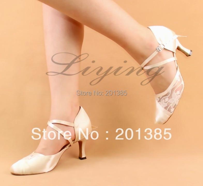 5cc50de1f21 Free Shipping Ivory Closed Toe Wedding Dance Shoe Ballroom Salsa Latin  Waltz Smooth Dancing Shoes Size 34