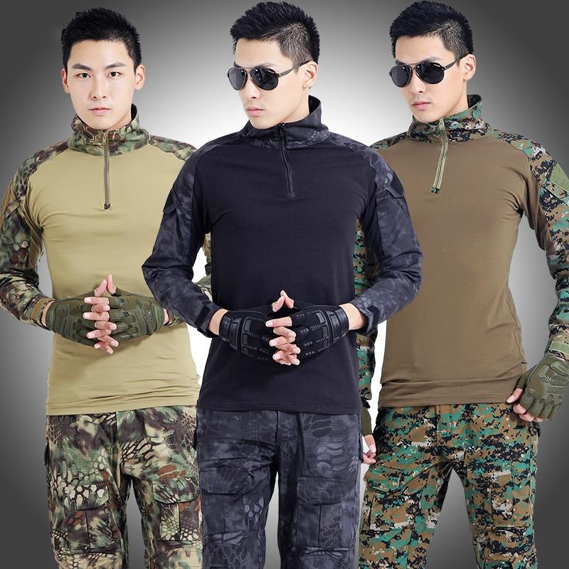 Leger Tactische Militaire Uniform Pak Lange Mouw Battle Strike Outdoor CS Uniformen Camouflage Combat Shirt + Broek