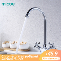 Micoe Kitchen Faucet Kitchen Taps Sink Mixer Taps Deck Mounted Chrome Polished Basin Faucet Hot&Cold Water Swivel Mixer H HC117