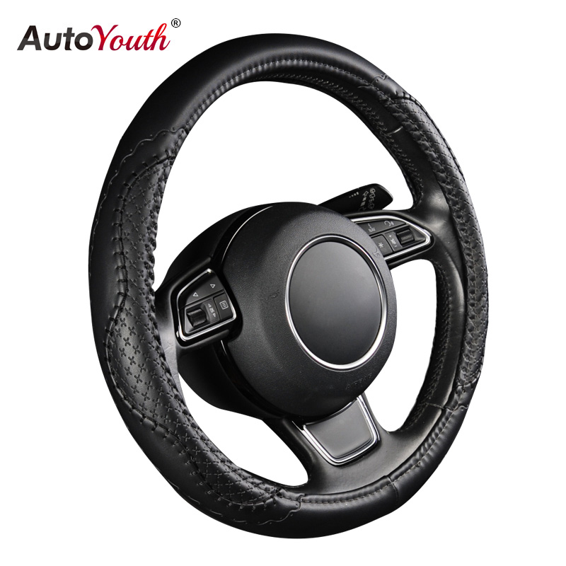 AUTOYOUTH PU Leather Steering Wheel Cover New Black Wavy Line Splice X-stitch Pattern Fits 38cm/15 inch For BMW Audi Ford Kia autoyouth hot car wheel cover pu leather steering wheel cover fit 38cm red wavy bold line for vw golf 4