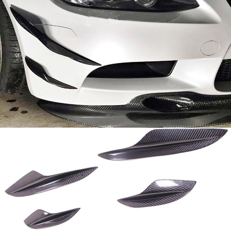 K Style Carbon fiber Front Spoiler Splitter Canard 4pcs Set Fit For BMW E90 E92 E93