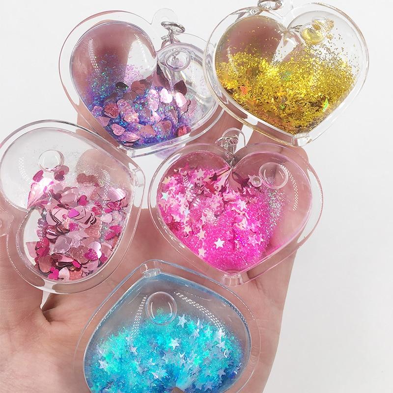 Heart Powder Moving Liquid Key Ring Fantasy Keychain Glitter   Quicksand Star Keychain Car Key Pendant Creative Birthday Gift