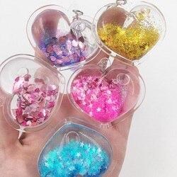 Kalp Tozu Hareketli Sıvı Anahtarlık fantezi anahtarlık Glitter Quicksand Yıldız Anahtarlık Araba anahtarı Kolye Yaratıcı doğum günü hediyesi