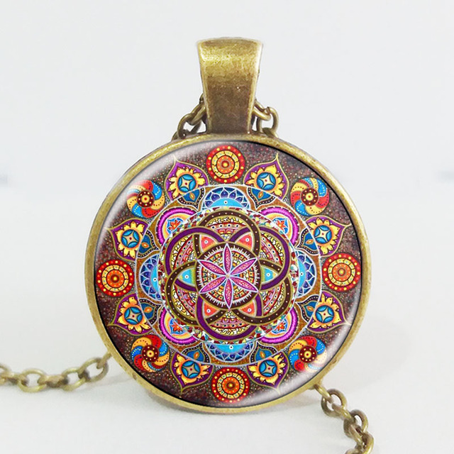 Silver plated necklace mandala necklaces chakra pendant OM jewelry for women glass cabochon pendants Zen gifts jewellery vintage