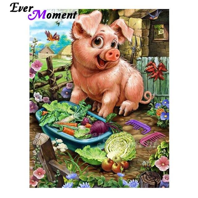 今まで瞬間ダイヤモンド塗装手作り豚野菜趣味の画像ラインストーン 5D diyダイヤモンド刺繍アートワークASF1658