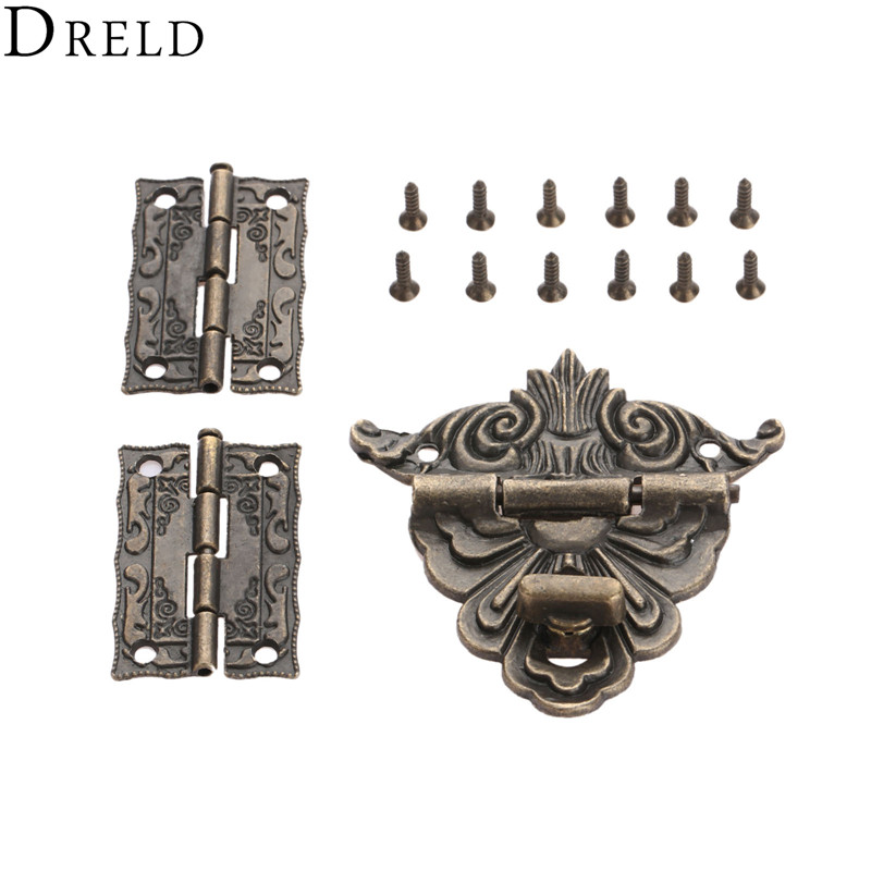 DRELD 2Pcs Cabinet Hinges+1pc Antique Bronze Jewelry Wooden Box Toggle Hasp Latch Clasp Vintage Hardware Furniture Accessories