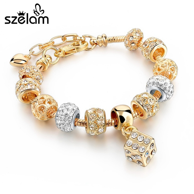 Szelam Luxury Crystal Heart Charm Bracelets & Bangles Gold Bracelets For Women Jewellery Pulseira Feminina Sbr160056 3