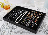 Black Velvet Necklace Organizer 9grid Ring Organizer Earring Organizer Double Use Jewelry Dispaly Tray Necklace Tray