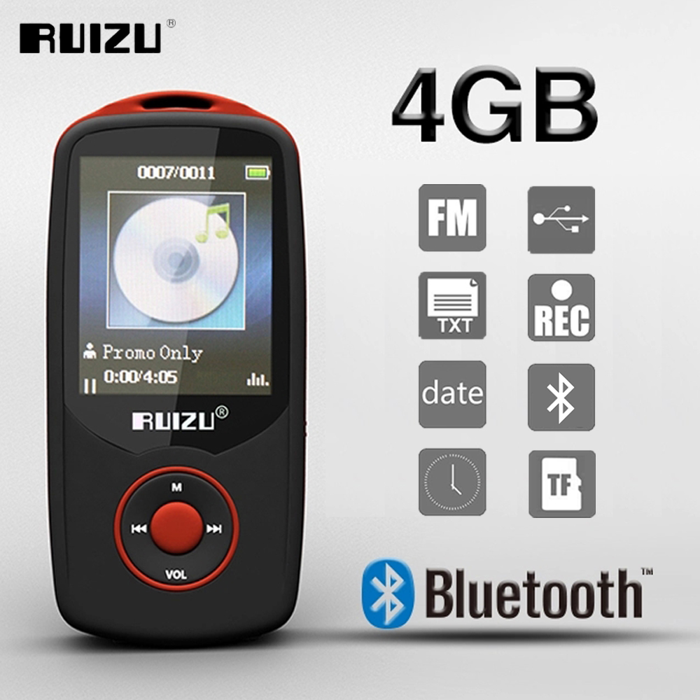 New Original RUIZU X06 4GB Bluetooth Sport MP3 Player With 1.8Inch Screen High Quality Lossless Recorder FM E-Book Music Player