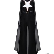 Новейший шикарный черный комбинезон, комплект для вечеринки, геометрический дизайн, сексуальный комбинезон с v-образным вырезом и накидкой, карманы, пояс, вечерние костюмы знаменитостей