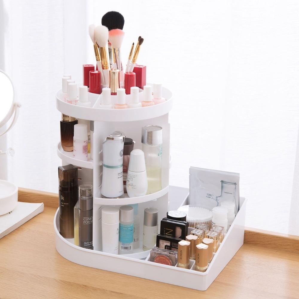 OTHERHOUSE 360 Rotating Makeup Organizer Cosmetic Storage Box Desktop Skin Care Product Shelf Jewelry Organizer Case
