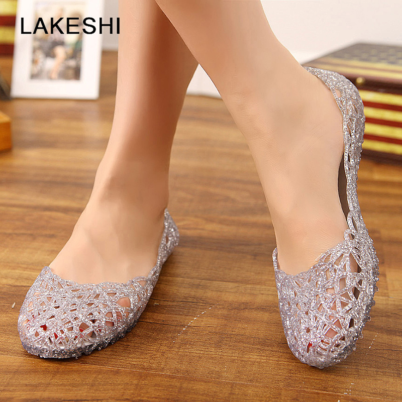 Women's Sandals 2018 New Summer Jelly Shoes Hollow Out Flat Sandals Fashion Mesh Flats Sandalias Femininas Plus Size slhjc 2017 summer flats cool sandals flat heel pointed toe cutout jelly shoes durable wear sandals beach travel shopping shoes
