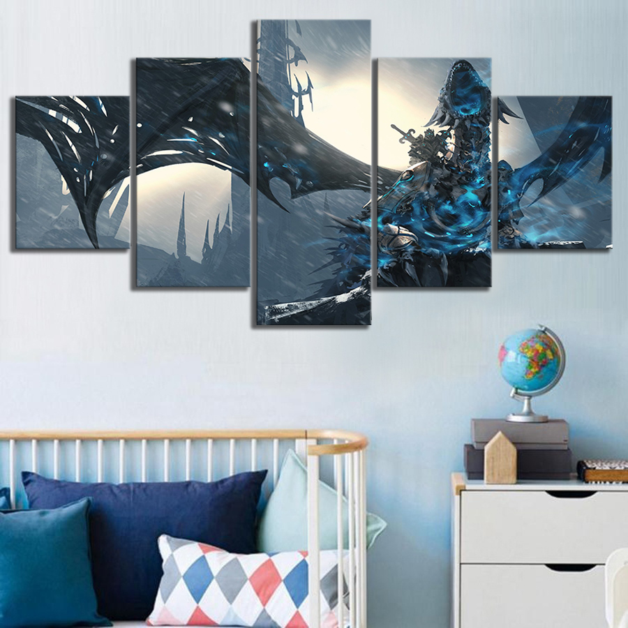 Wall Art Pictures Canvas Posters Home Decor 5 Panel World Of Warcraft Wrath The Lich King Game Painting Printed Photo Frame