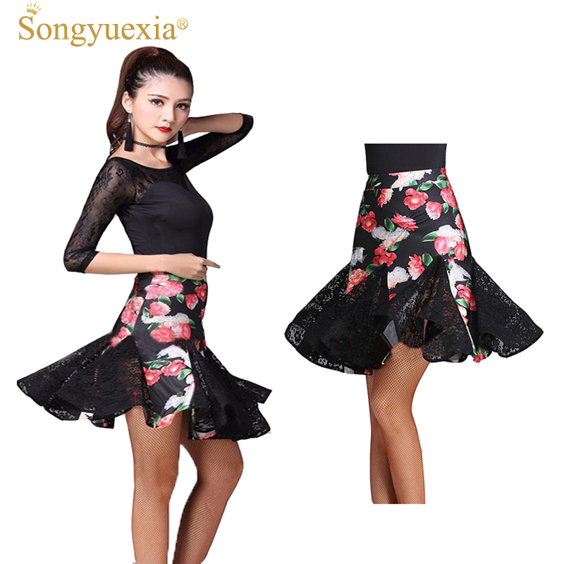 SONGYUEXIA woman Laitn Dance Skirt Package Buttocks Skirt Woman flamengo half Lace dancel Skirt Women's stage Printing Skirt