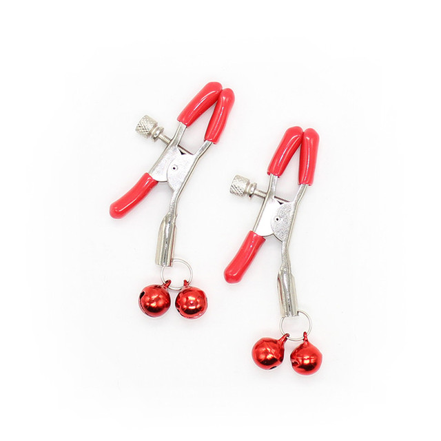 Steel metal sexy breast nipple clamps clips with 2 bells