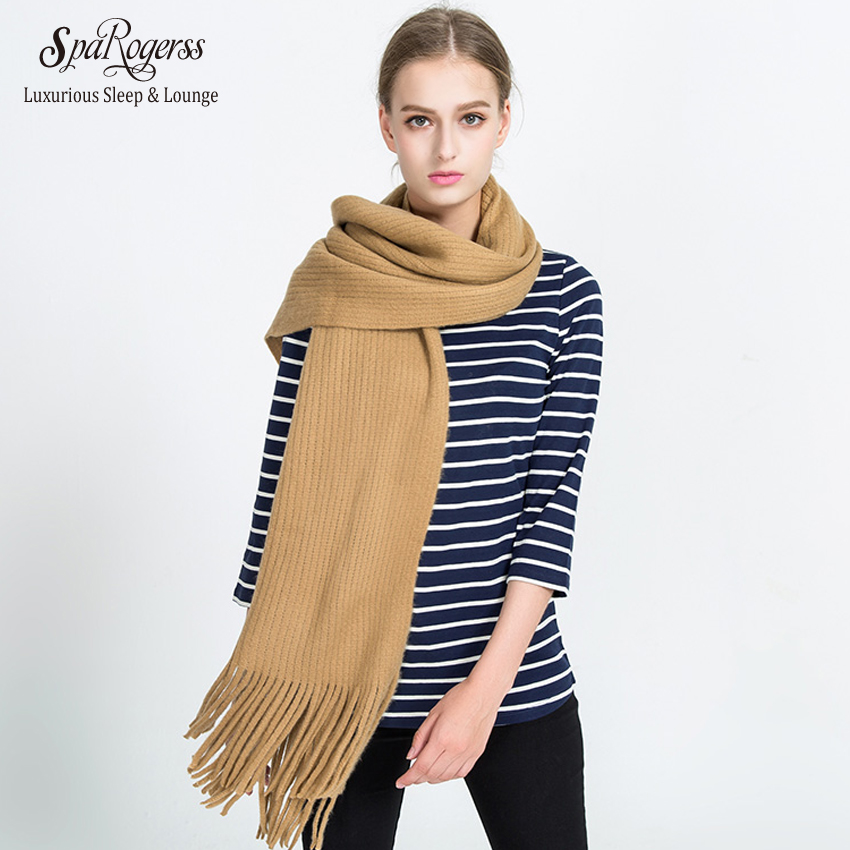 SpaRogerss Long Pure Color Women Scarf 2018 Winter Fashion Warm Brand Shawl Autumn New Faux Cashmere Knitting Scarf Woman MT1699
