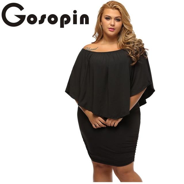 Gosopin с открытыми плечами Платья для женщин плюс Размеры несколько выделка слоистых пикантные черные сапоги мини-платье Vestido Повседневное большой женская одежда lc22820