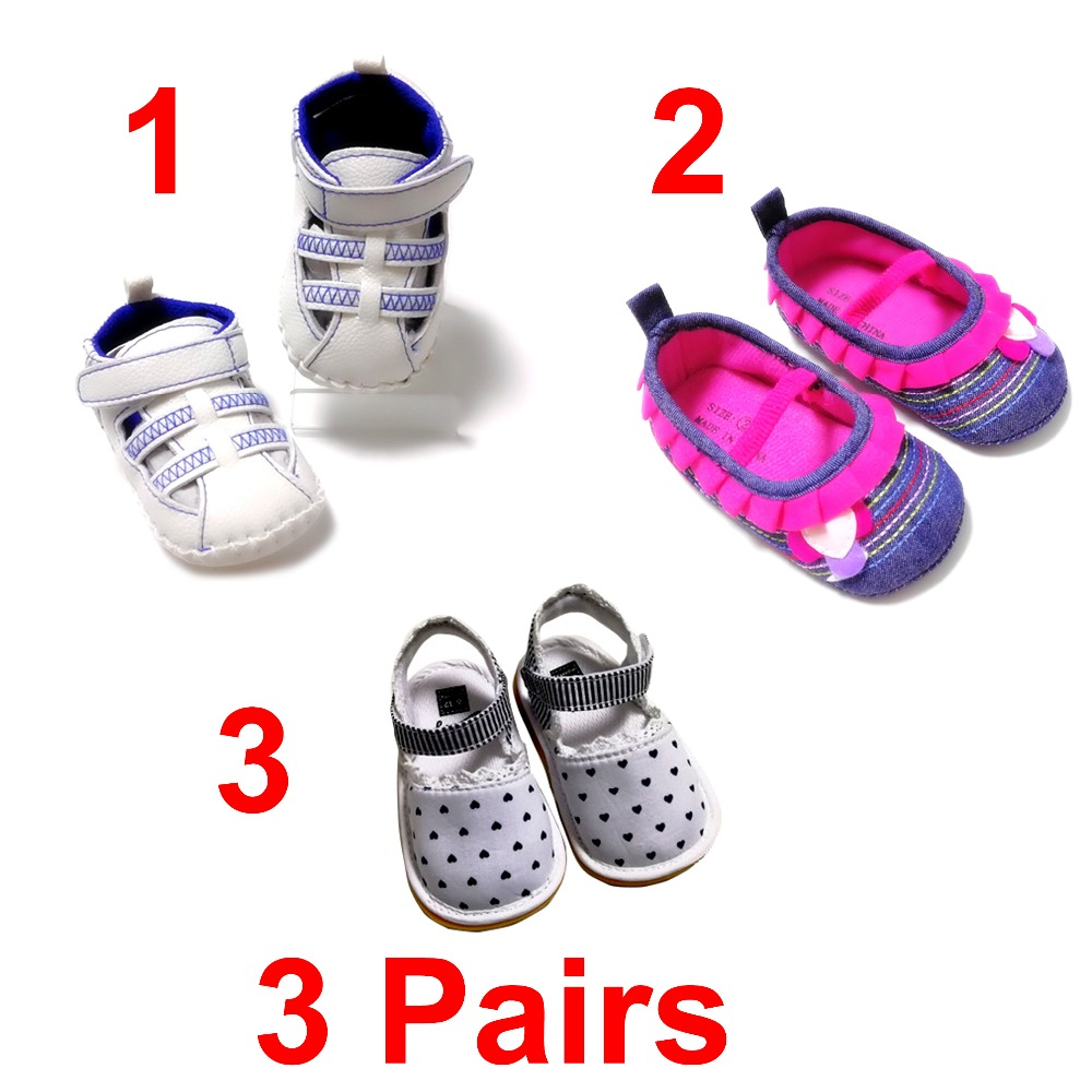 Baby First Walker 3 Pairs Antiskid Baby Girl Moccasins Moccs Shoes Flower Fringe Soft Soled Non-slip Footwear Crib Shoes