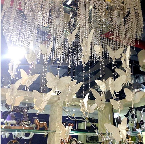 5 Strings White Angel Bead Curtain Hang Under The
