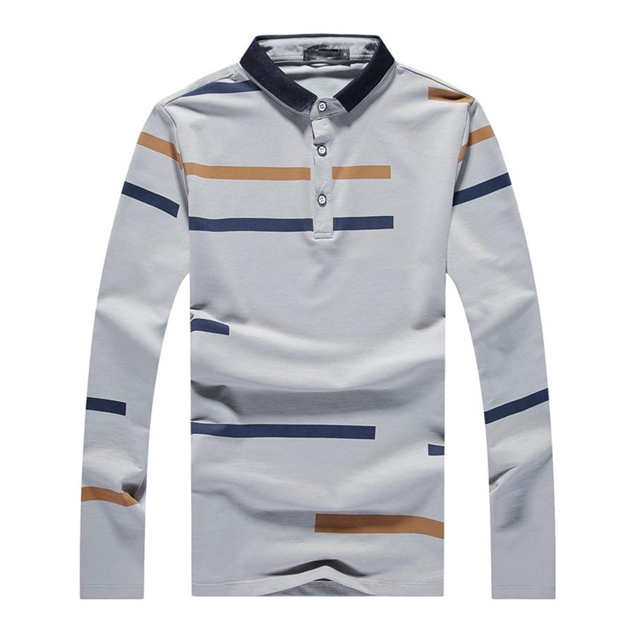 Slim Fit Polo Shirt Men Long Sleeve Cotton Striped Hip Hop Mens Polo Shirts Streetwear Harajuku