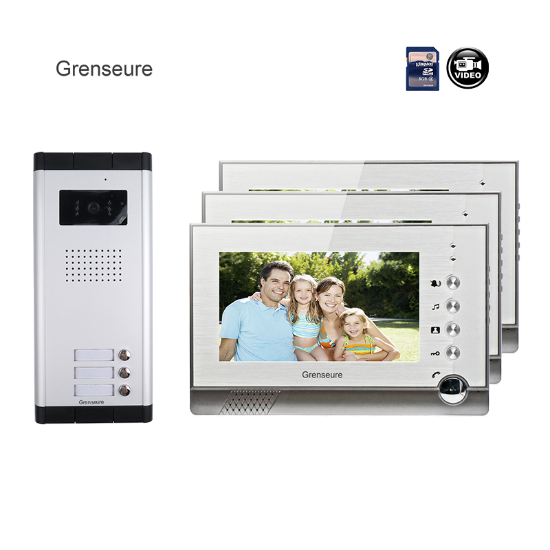 FREE SHIPPING New 7 LCD Color Recorder Video Door Phone Intercom + 3 Screen + 700TVL HD Outdoor Camera for 3 Family Apartment