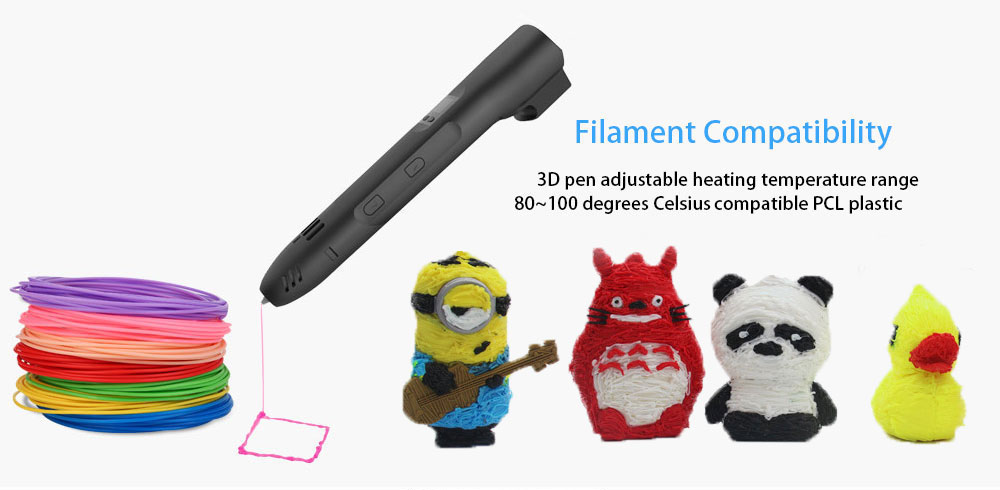 QCREATE QW01-012B 3D Pen PCL Low Temperature 3D Printing Pen LCD screen Heating Temperature and Speed Control free send 10M PCL 10