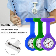 New Nurses Watches Doctor Portable Fob  Brooches Silicone Tunic Batteries Medical Nurse Quartz With Clip Relogio Gift