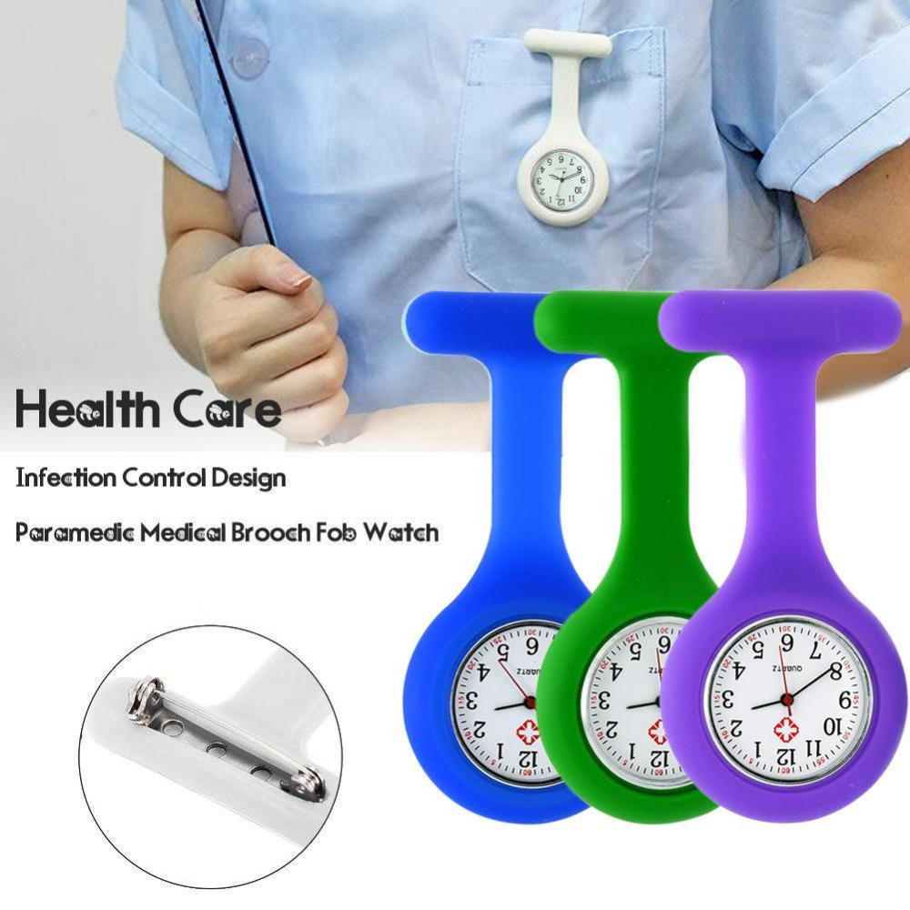 New Nurses Watches Doctor Portable Fob Watch Brooches Silicone Tunic Batteries Medical Nurse Watch Quartz With Clip Relogio Gift fashion colorful silicone nurses brooch fob pocket quartz watch 12 styles pendant round portable medical nurse doctor watches