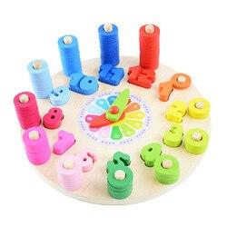 Relógio de aprendizagem brinquedos educativos montessori educação precoce ensino auxiliar matemática brinquedos