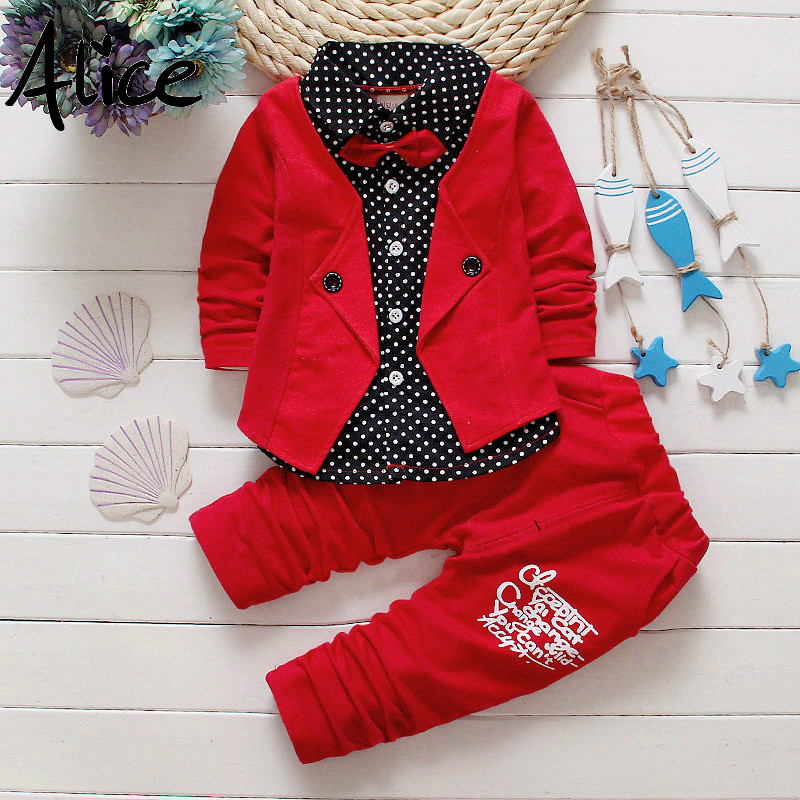 Two-Fake Clothing-Sets Pants Jacket Letter Spring Baby Boys Kids Children 2pcs Bow Button