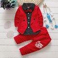 2017 niños primavera dos conjuntos de ropa falsa niños botón carta arco traje conjuntos niños chaqueta + Pantalones 2 piezas ropa conjunto ropa de bebé