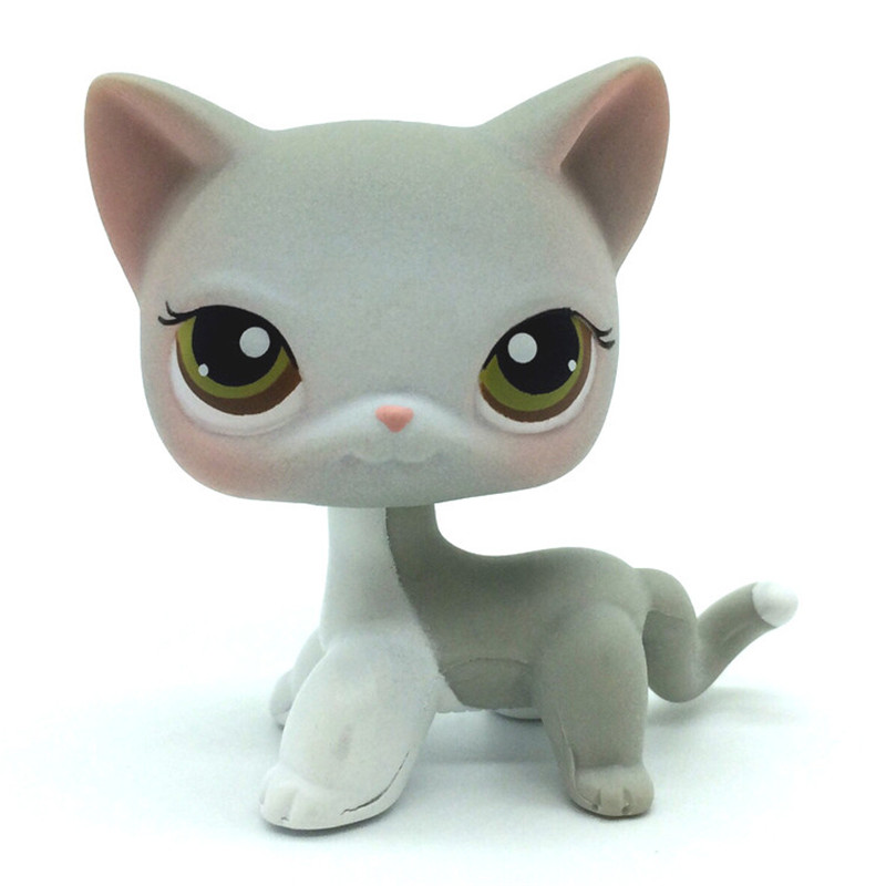 Lps cat pet cute light gray white lps style olive eyes pink ears mini pet girl action characters children toys best gift
