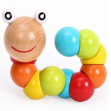 Baby Girls Boys funny Colourful Wooden Caterpillar Worm Sensory Wood Bead Toy UK