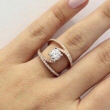 Fashion Curve Diamond Rings Double Color 14K Rose Gold and Wedding Anillos De Bizuteria Bague Etoile Jewelry Women