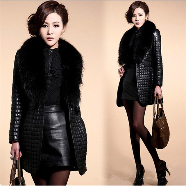 long Slim Ladies Black PU Fur Leather #Jacket Autumn Winter Office Ladies Artificial Fox #Fur #Coat #fashion #fauxfur #boygrl 1