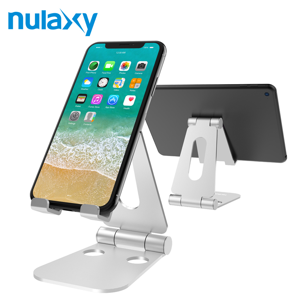 Nulaxy Portable Phone Stand for iPhone X Aluminum Adjustable Desktop Holder Dock for iPad  Nintendo Switch Tablet Stand ノートパソコン