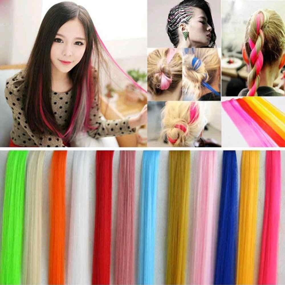 Extensiones de Cabello largas rectas de colores falsos Clip en la parte superior del pelo del arco iris hebras de pelo sintético rosa en los Clips