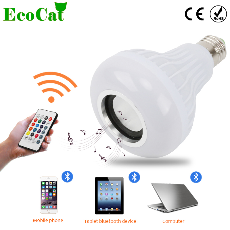 Led Light E27 Led Rgb Bluetooth Speaker Bulb Wireless 12w