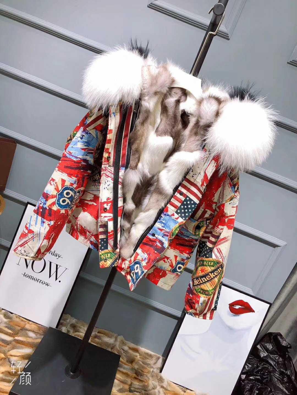 2018 Nuovi Arrivi Addensare Caldo astratta giacca di stampa reale di volpe interno di grandi dimensioni bianco collo di pelliccia di inverno del cappotto del rivestimento per le donne