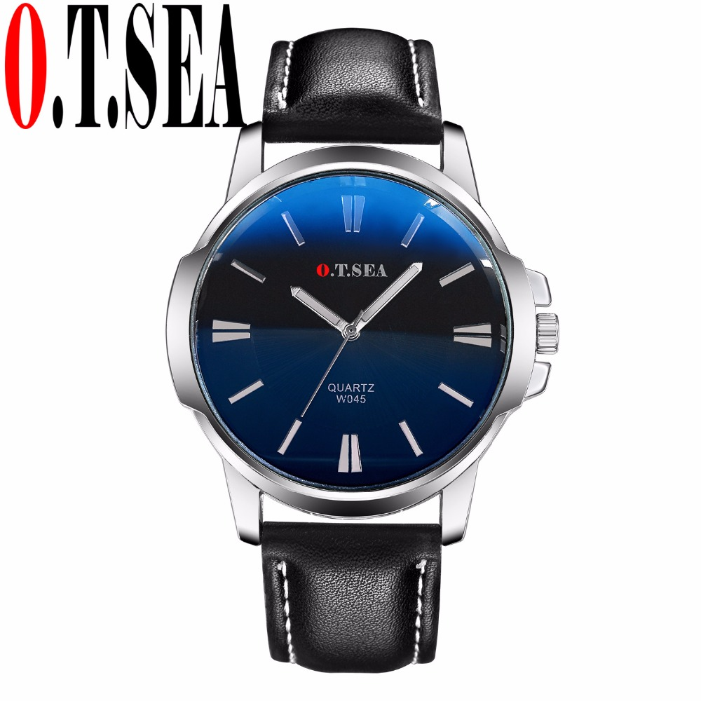 Luxury O.T.SEA Brand Faux Leather Blue Ray Glass Watch Men Military Sports Quartz Wrist Watches Relogio Masculino W045