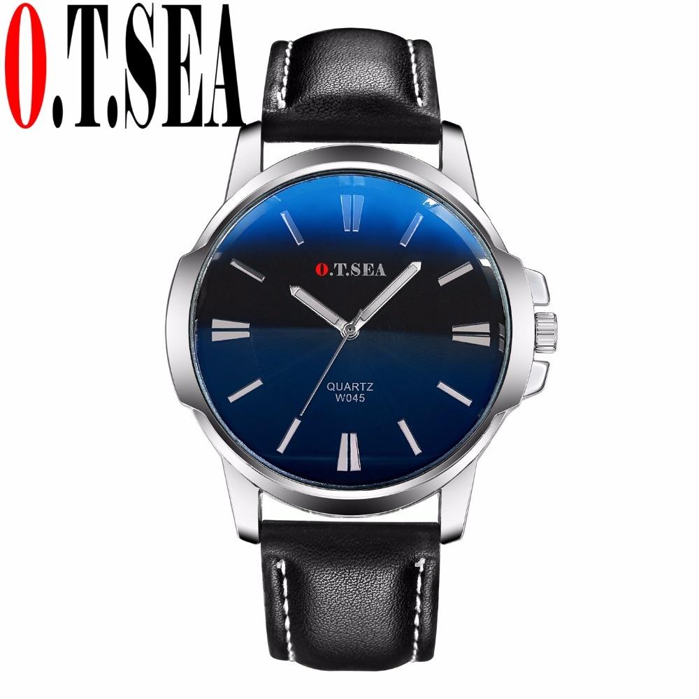 Luxury O.T.SEA Brand Faux Leather Blue Ray Glass Watch Men Military Sports Quartz Wrist Watches Relogio Masculino W045 faux leather quartz wrist watch