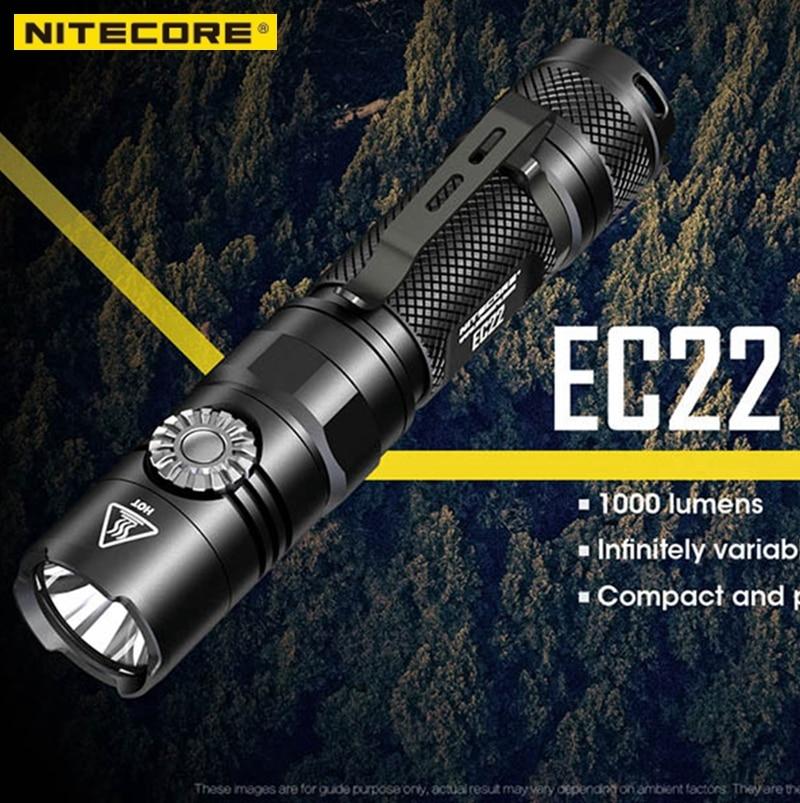 2018 New NITECORE EC22 Infinitely Variable Brightness Flashlight CREE XP L HD V6 LED 1000 Lumens
