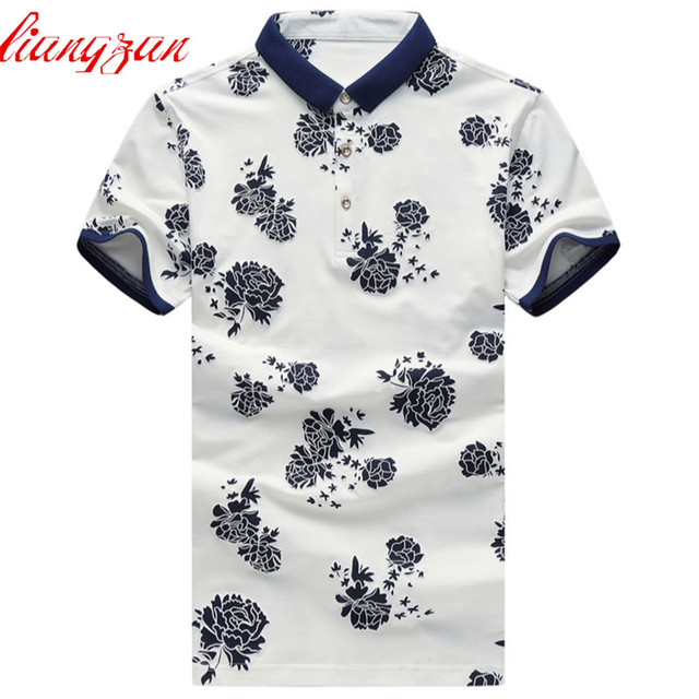46ac299a Men Floral Printed Polo Shirts Brand Summer Short Sleeve Casual Cotton Slim  Fit Casual Polo Business Fashion Dress Shirts F2424